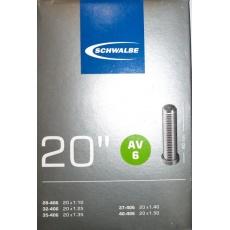 """duša SCHWALBE AV6 20 """"x1.10-1.50 (28 / 40-406) AV / 40mm"""