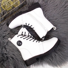 Asymmetrical Jr white insulated boots