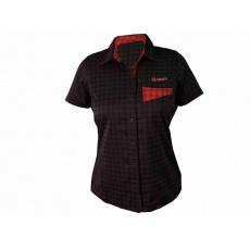 košeľa krátka dámska HAVEN Agness Slimfit čierna / červená