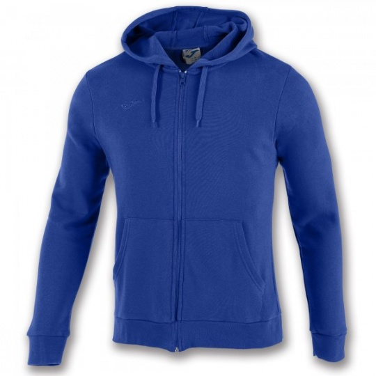 SWEATSHIRT WITH ZIP COMBI COTTON ROYAL BLUE