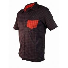 košeľa krátka pánska HAVEN Agness Slimfit čierna / červená
