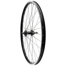 """zapletené koleso 24 """"max1 S V-brake zadná, ložiskový, závitový, čierne / strieborné"""