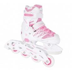 korčule kolieskové detské Tempish CLIPS DUO bielo-ružové