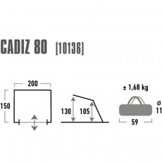 High Peak Cadiz Beach Tent 80 cm gray 10136