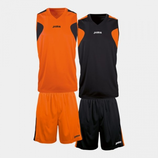 REVERSIBLE BASKET SET ORANGE -BLACK JERSEY+SHORT