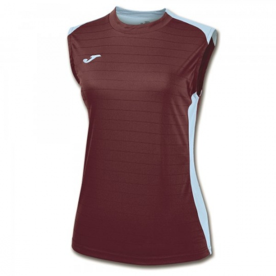 CAMPUS II WOMEN SLEEVELESS SHIRT BURGUNDY-SKY BLUE
