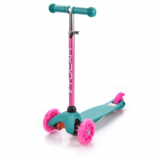 Tricycle scooter with wheels Led Meteor Tucan turquoise - pink 22557