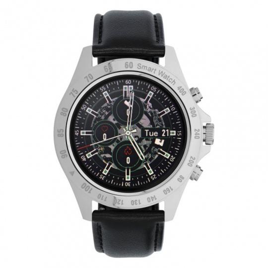 Watch, smartwatch Men Style silver-black, leather